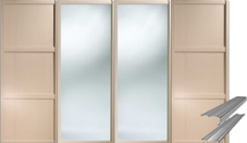 Shaker Style Maple 2 Panel & 2 Mirror Doors & Track Set to suit an opening width of 3607mm